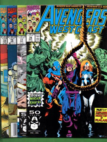 Avengers West Coast Vol. 2 #76 Nov 91 - #79 Feb 92: Infamous Monsters of Hollywood! (whole mini-s.)