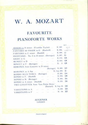 Favourite Pianoforte Works - Adagio
