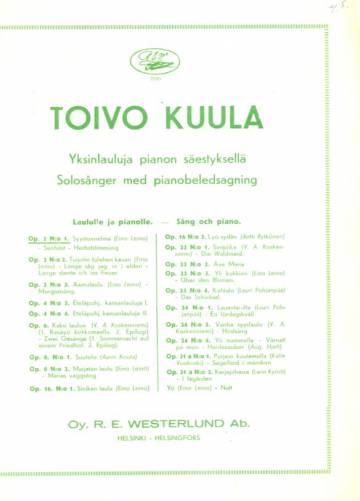 Yksinlauluja pianon säestyksellä, laululle ja pianolle, Op. 2 N:o 1, Syystunnelma