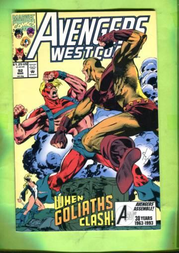 Avengers West Coast Vol 2 #92 Mar 93